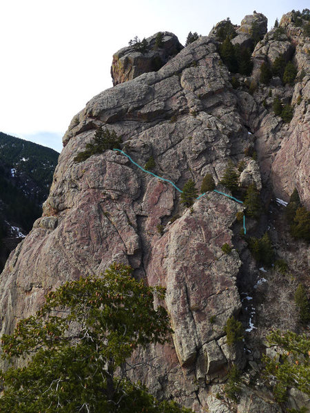 Rock Climbing Photo: E slabs descent from Upper Juniper Ledges.