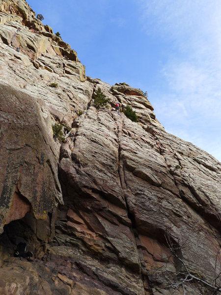 Climber at first belay.
