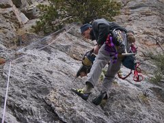 Rock Climbing Photo: Head for the crack and traverse up and left out of...