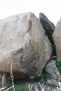 Rock Climbing Photo: Half Moon Boulder - North, South Arete Topo