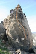 Rock Climbing Photo: Half Moon Boulder - North, North Arete Topo