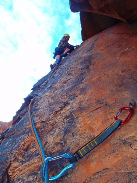 Rock Climbing Photo: Lacing up the start of pitch 2