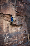 Rock Climbing Photo: About to get a high foot around the crux of Merced...