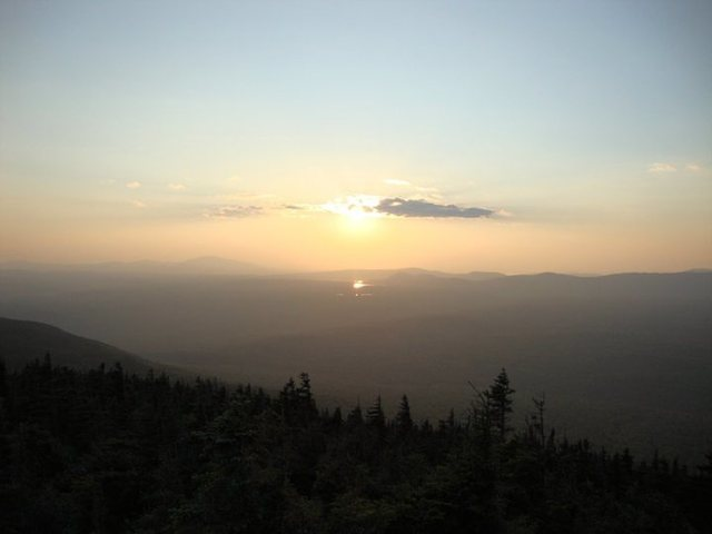 Sunset from the top of the Barren-Chairback range along the Appalachian Trail in Maine.
