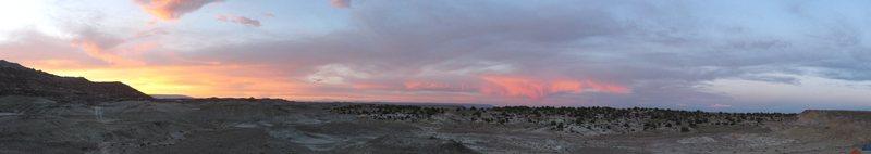 Panorama of sunset in the Dutch Flats Desert, Utah.