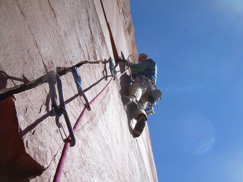 Here is a finger crack up there, 5.11-.