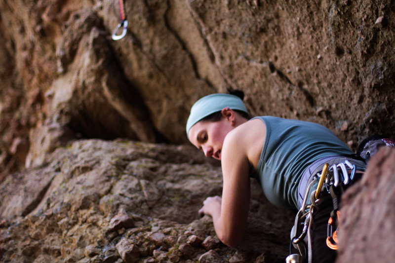 Julia makes her first lead in the Santa Monicas!  This was the least chossy of all the routes we climbed on this wall and for the grade a super fun route.