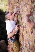 Rock Climbing Photo: James leading Boiler Room, a fall above the 3rd bo...