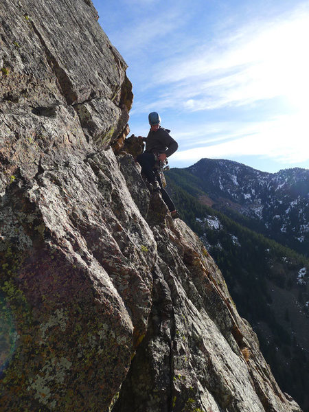 Chase about to start the last (shared) pitch of Yellow Spur.