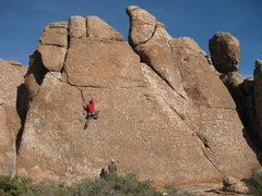 Doug on Babysitters. 4 bolt face to 2 bolt rap. This route is to the left of Wake and Bake.