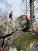 Rock Climbing Photo: Right finish variation. Planet of the Apes. V2. Go...