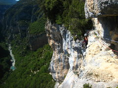 Rock Climbing Photo: Pulling the final roof moves to gain the narrow le...