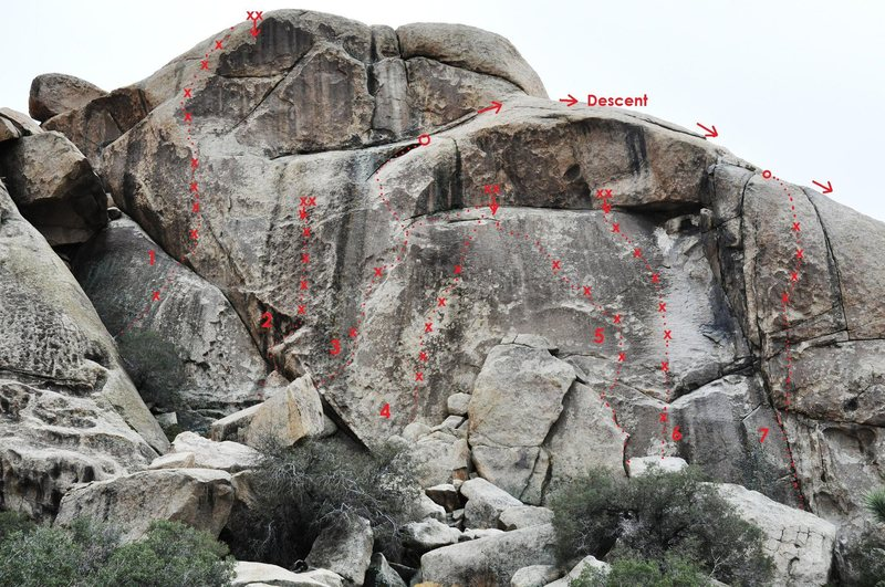 Rock Climbing Photo: Little Hunk, East Face Right Side 1. Changes (5.11...