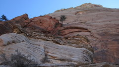 Rock Climbing Photo: Looking at the upper wall from the top of pitch 6 ...