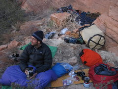 Rock Climbing Photo: bivy at the top of pitch 7 (directly below the obv...