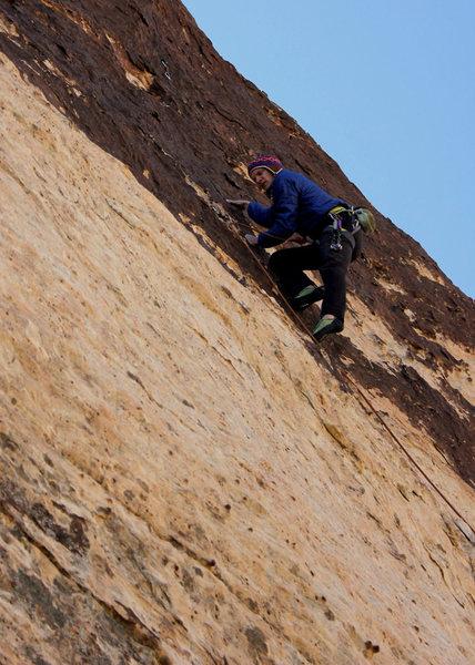 Rock Climbing Photo: Andy Hansen through the crux into the upper sectio...