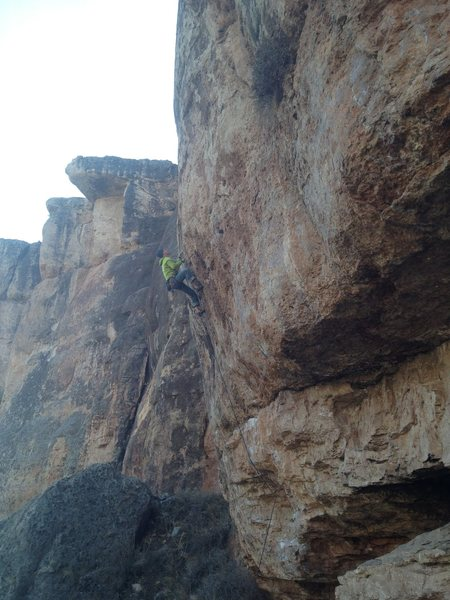 Rock Climbing Photo: Past the crux (which was totally dogged).