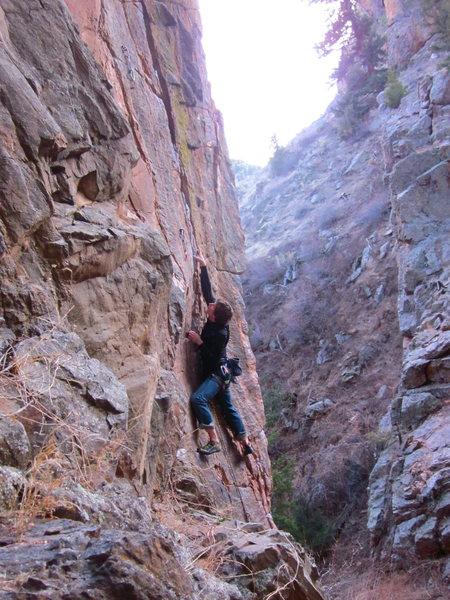 Rock Climbing Photo: John Kruickshank leading Dear Slabby.