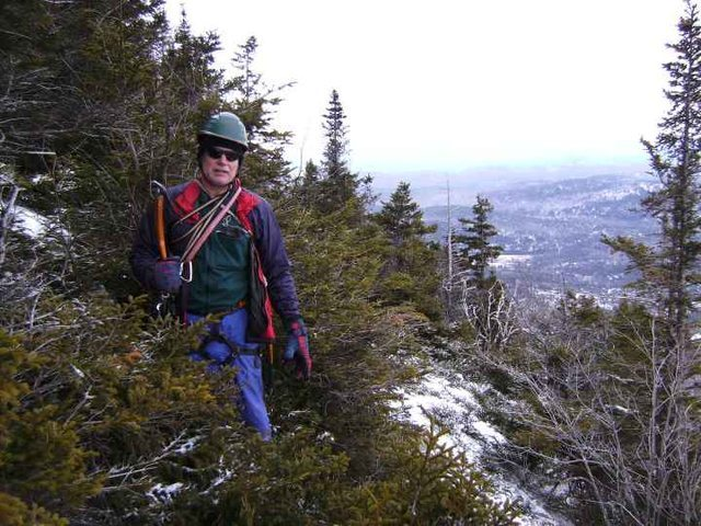 Tom Lane at the top of <em>Mountaineer's Route</em>.