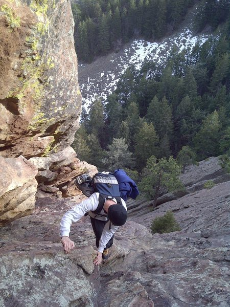 Rock Climbing Photo: Jake ropeless on ECR, 1/31/12.