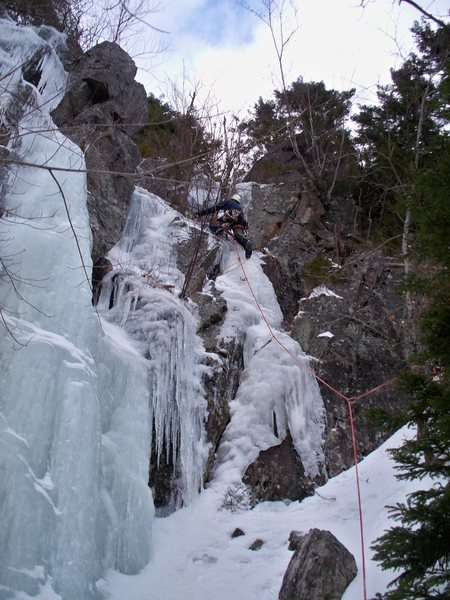 Rock Climbing Photo: Me nearing the top of the first vert section. Two ...