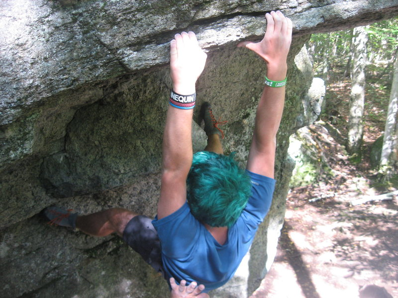 Rock Climbing Photo: Sticking the lip of the roof