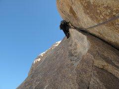 Rock Climbing Photo: P-2 of Right On in Joshua Tree.