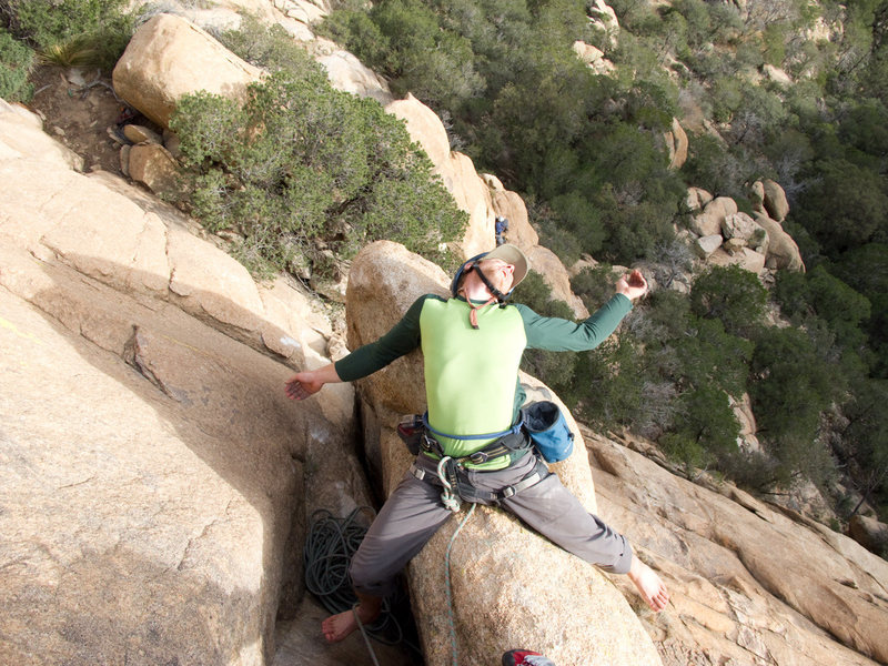 "Rock Climbing Photo: ""A Caballo"" Belay atop pitch one."