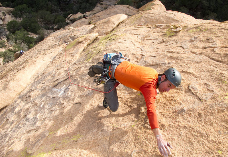"""Rainbow Weinstock on 2nd ascent of """"Time 'll Tell."""""""