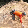 "Rainbow Weinstock on 2nd ascent of ""Time 'll Tell."""
