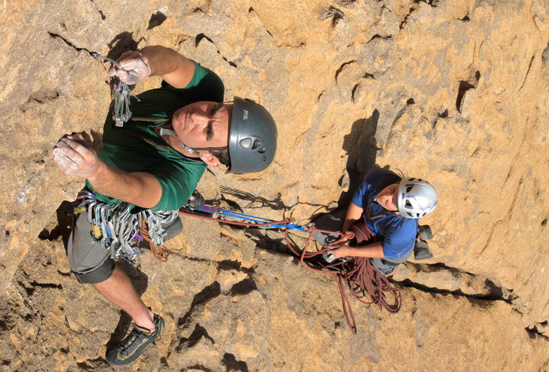 """Rock Climbing Photo: Rainbow Weinstock on second pitch, crux of """"S..."""
