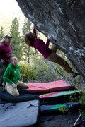 Lauren on the White Kong Boulder, near Markleeville. See Noah Kaufmann's blog for the beta