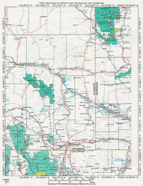 MAP 1:  A Region Surrounding the SE Quadrant of Wyoming