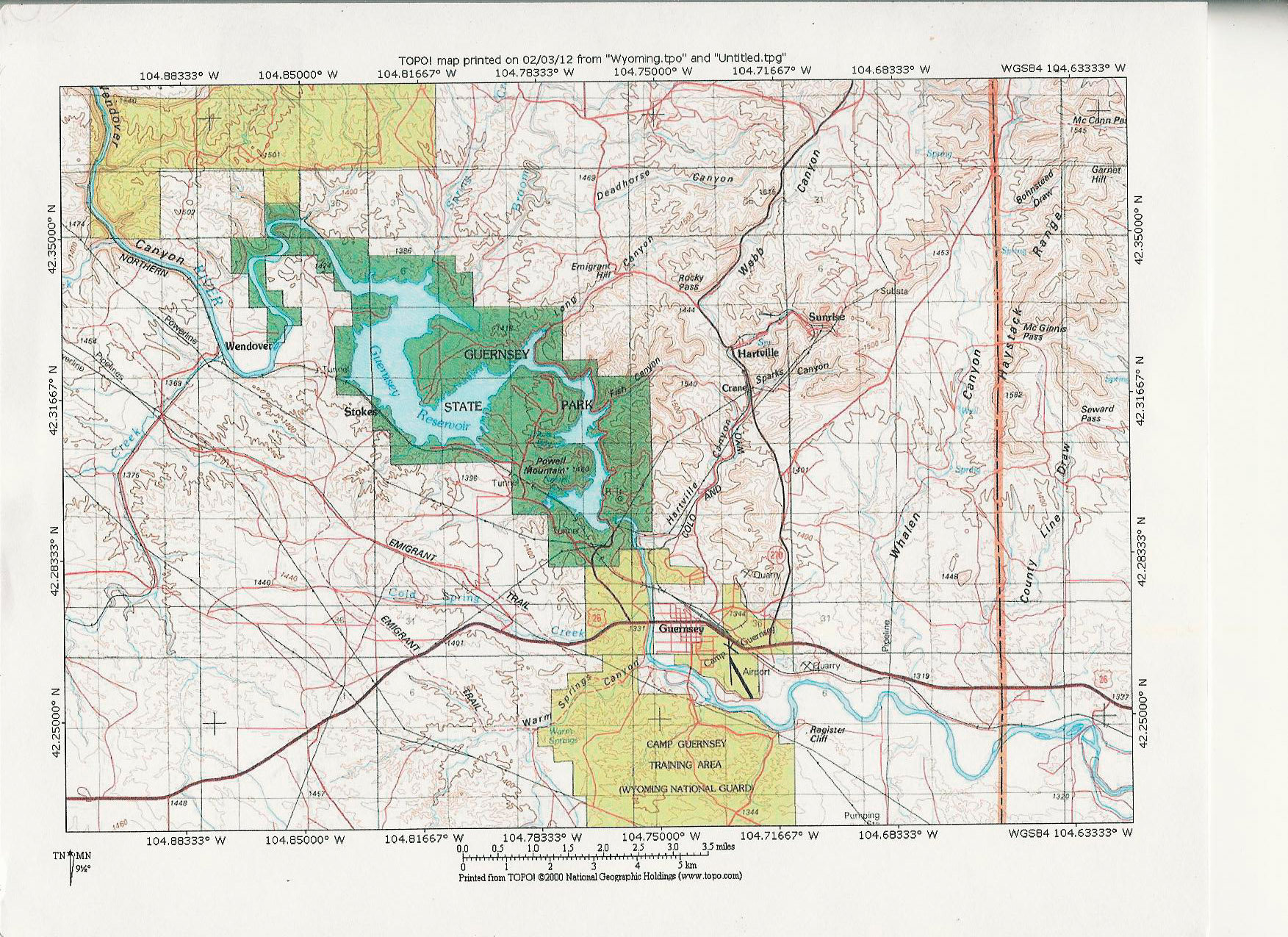 Guernsey Wyoming Map MAP 2: Guernsey State Park