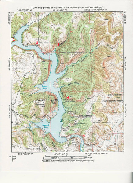 MAP 3:  East Portion of Guernsey State Park with Zones of Climbing Activity Numbered