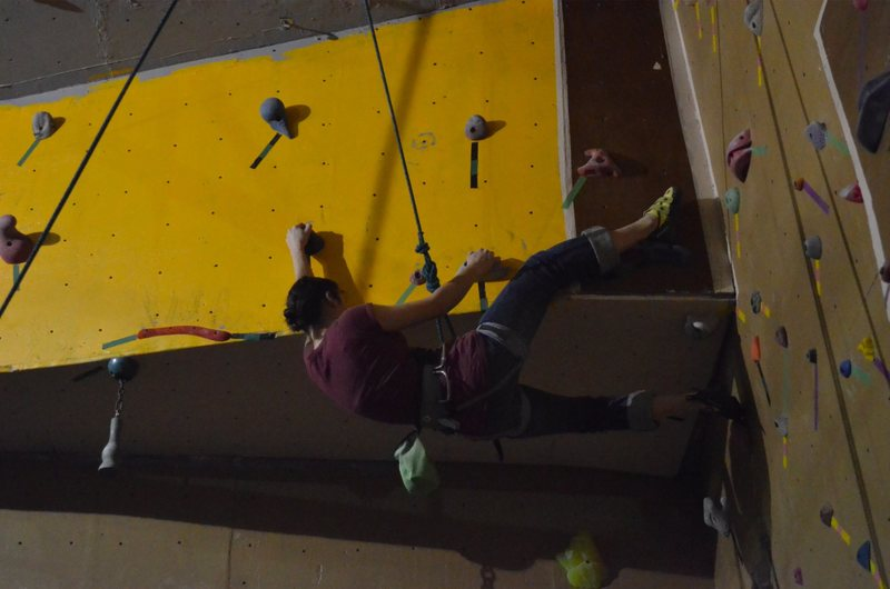 Rock Climbing Photo: Emily Dale heel hooking the overhang in the Amphit...