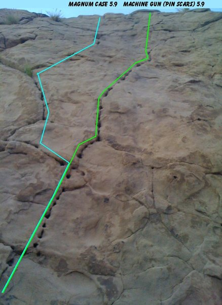 Rock Climbing Photo: Machine Gun aka Pin Scars on the right