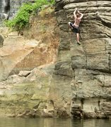 Rock Climbing Photo: Kevin on the first ascent of Cats Craw.