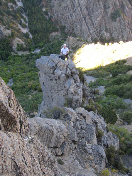 Looking back across the leap of faith to Christian belaying from the pitch 1 tower.