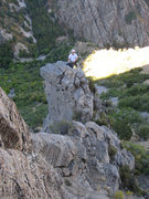 Rock Climbing Photo: Looking back across the leap of faith to Christian...