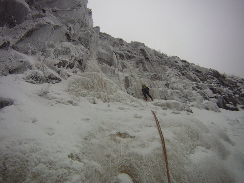 Zeb Engberg leading the third pitch in thin conditions. We wound up climbing the left pillar.