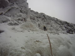 Rock Climbing Photo: Zeb Engberg leading the third pitch in thin condit...
