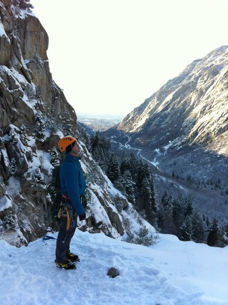 Top of 2nd pitch of The Great White Icicle, Little Cottonwood Canyon, Utah
