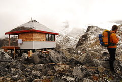 Rock Climbing Photo: The new hut with same old weather