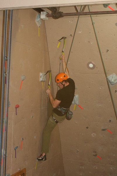 Rock Climbing Photo: dry tooling in local gym.