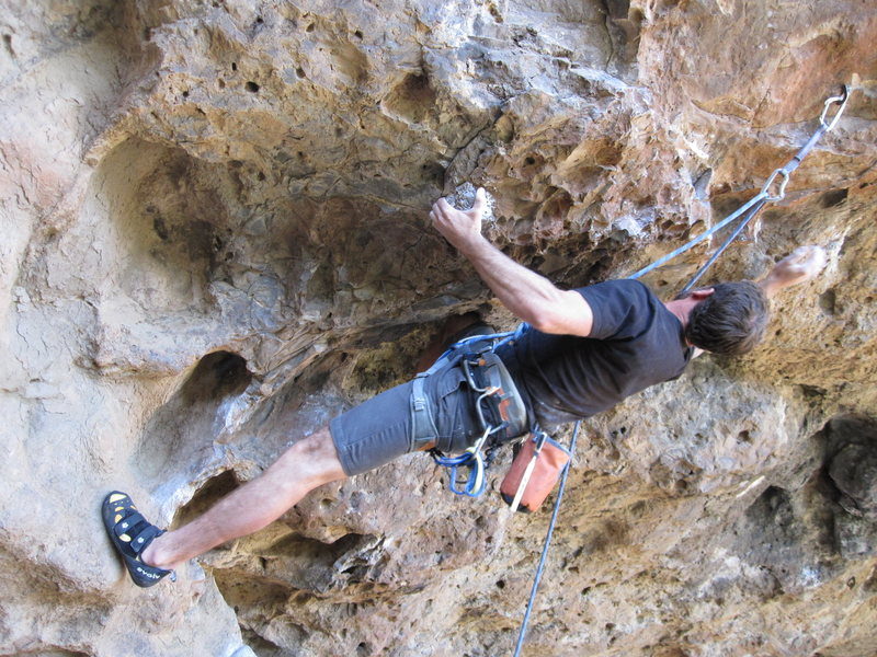 Rock Climbing Photo: The broken hold is directly left of the lower clip...