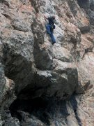 Rock Climbing Photo: Continuing up after pulling the roof on Langeweile...