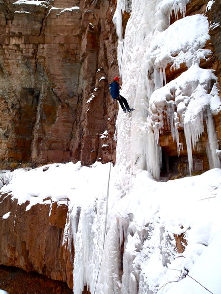 Rock Climbing Photo: Dan rappels off of the route.  About 2/3rds of the...