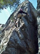 Rock Climbing Photo: Heather on the 5.9 on Outer Wall.