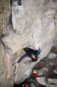 Rock Climbing Photo: Reinke looses his hat , but manages to send. Feb 4...